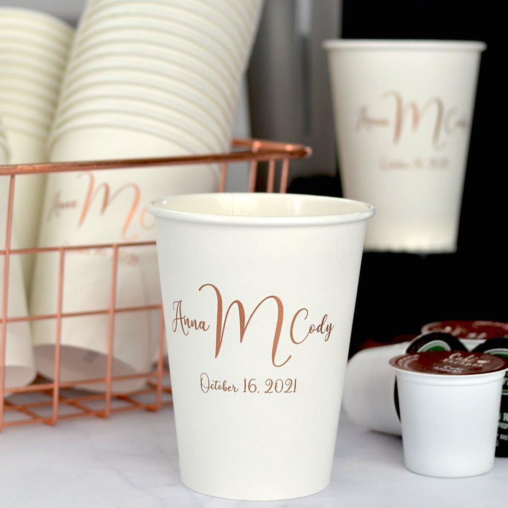 12 oz personalized white paper cups printed with monogram M-32, Wispy lettering style, and copper imprint color